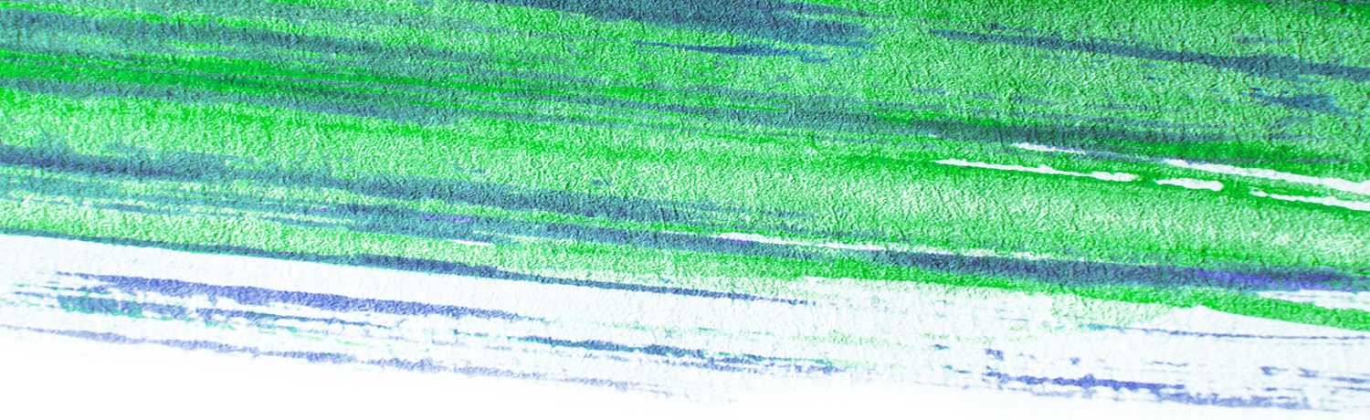 green and blue swath of paint
